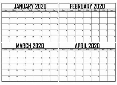 Calendar January April Printable Word Template Calendars