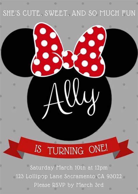 minnie mouse invitation editable birthday invitation