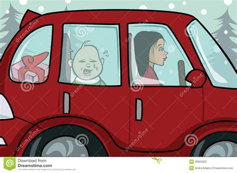 Baby Crying Car Stock Illustration. Image Of Snowing
