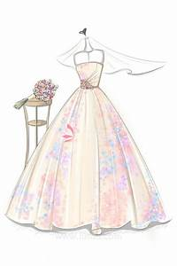 Illustration of Colorful Printing Pattern Ball Gown with