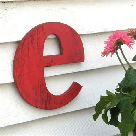 custom lowercase letter small  red distressed vintage style  etsy  big wooden
