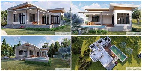 myhouseplanshop modern house  shaped plan  white tone  bedrooms  bathroom small