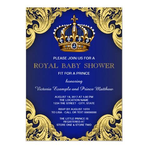 Fancy Prince Baby Shower Invitations Zazzle com
