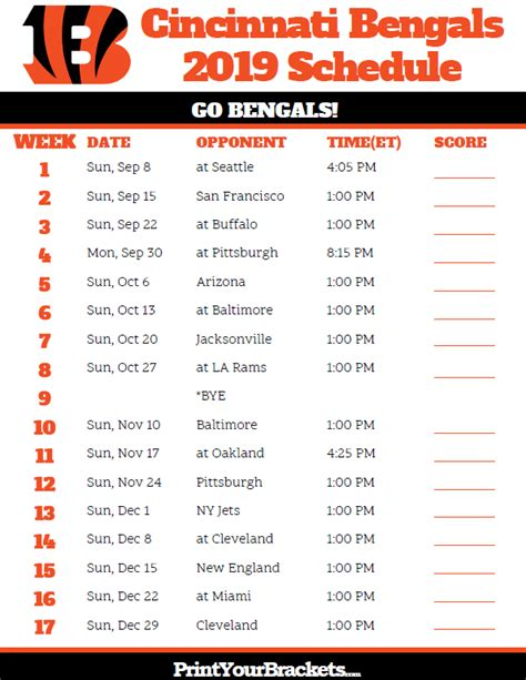 printable cincinnati bengals schedule season