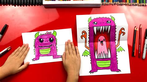 draw  scary cute monster folding surprise art