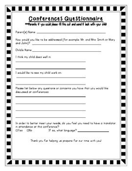 pre conference parent questionnaire by the class to bee tpt 954 | original 790427 1