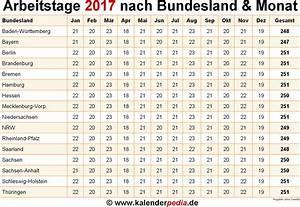 Arbeitsstunden Pro Monat Berechnen : anzahl arbeitstage 2017 in deutschland nach bundesland monat ~ Themetempest.com Abrechnung