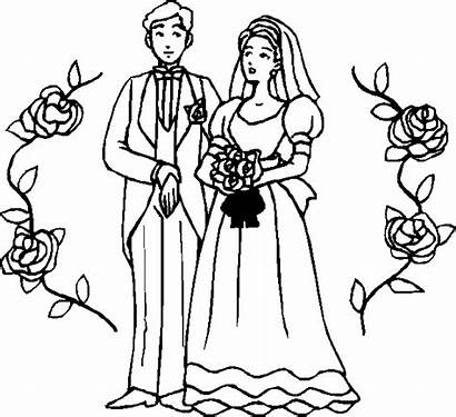 Marriage Ceremony Coloring Bride Drawing Groom Drawings