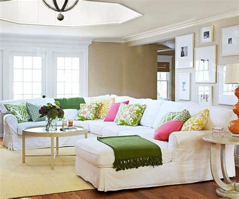 Neutral Living Room Couches And Colorful Pillow