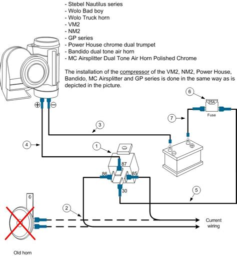 Stebel Nautilu Air Horn Wiring Diagram by Installation Stebel Nautilus Series Wolo Bad Boy Wolo