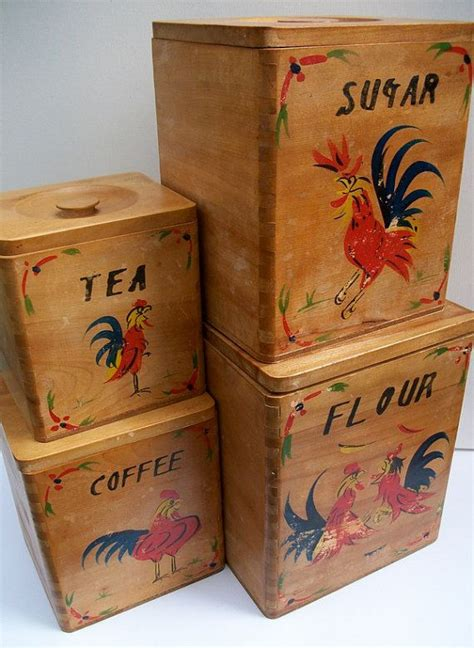 wooden kitchen canister sets set of four vintage 1950 39 s wooden kitchen canisters with