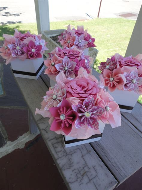 paper centerpieces for tables origami paper flower centerpiece set of 5 kusudama pink small