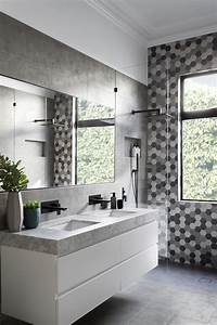 matte, black, accents, add, sophistication, to, this, grey, and, white, bathroom