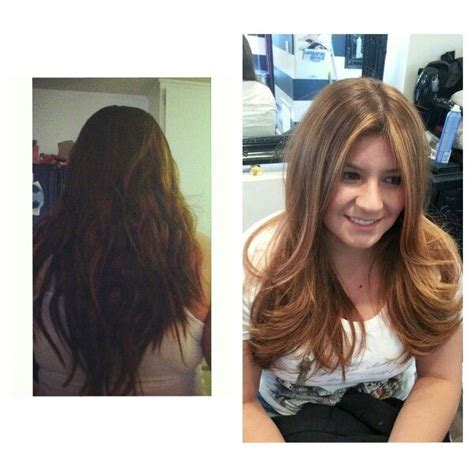 Brown To Hair Before And After Photos by Before And After Brown To Golden Ombre Light Brown