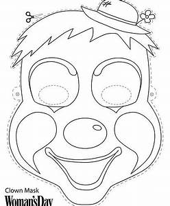 free color print face masks parties under the big top With clown mask template