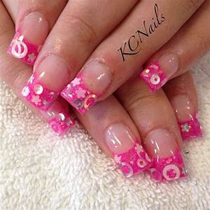 Hot pink acrylic nails, french tip. With circle and flower ...