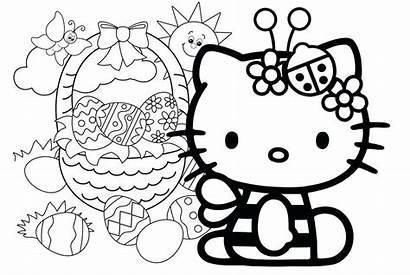 Kitty Hello Coloring Printable Easter Pdf Colouring