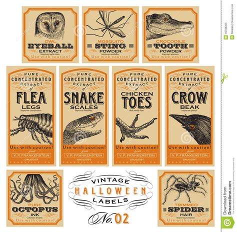 funny vintage halloween apothecary labels set  vector