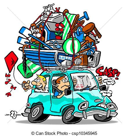 vacation home plans drawing of car trip family road vacation in overloaded