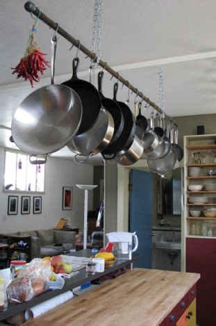 Kitchen Hangers For Pots And Pans by Rod For Hanging Pots And Pans Goes Between Column And Wall