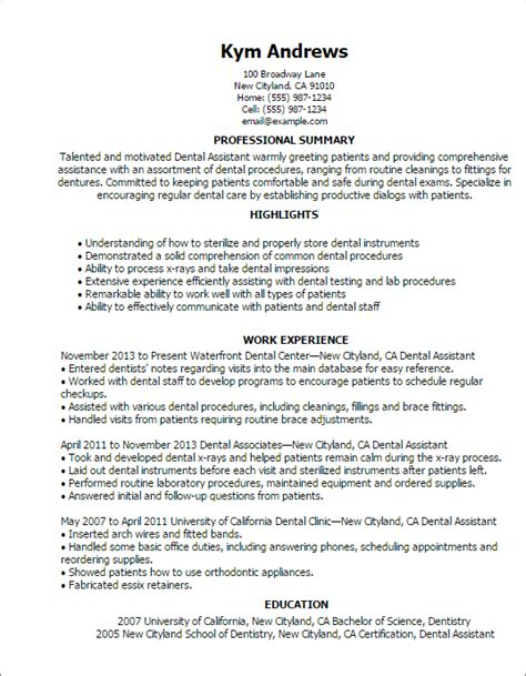 Dental Assistant Resume Exles With Experience by Entry Level Dental Assistant Resume Dental Assistant