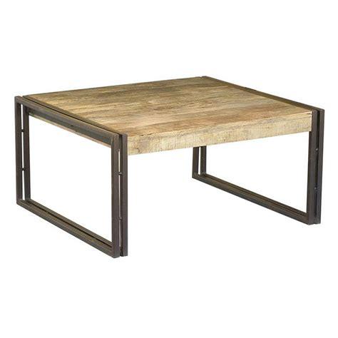 table basse carr 233 e bois et fer forg 233 le bois chez vous