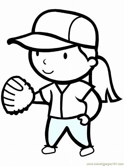 Softball Coloring Pages Sports Printable Sheets Clipart