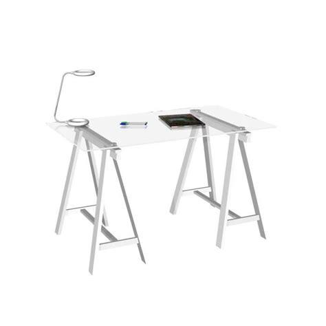 plateau de bureau en verre glass bureau plateau verre 120x70cm 2 tréteaux achat