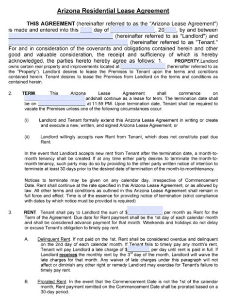 arizona residential lease agreement  word
