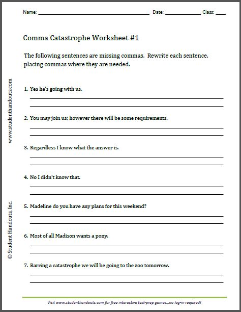 this free printable worksheet asks students to insert commas where needed ccss ela literacy l 5