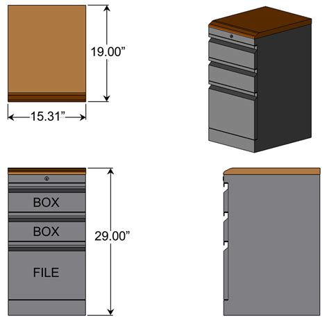 Desk File Cabinet Dimensions by Box Box File With Premium Wood Top Caretta Workspace
