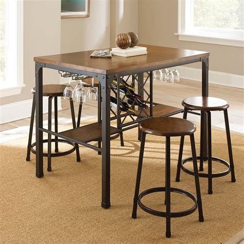 dining set with storage steve silver 5 wine storage counter height 6714