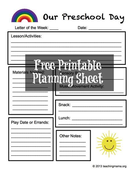 preschool planning sheet free printable teaching 131   PreKDay 790x1024