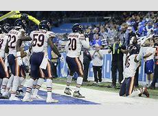 Chicago Bears' defense celebrates interception with