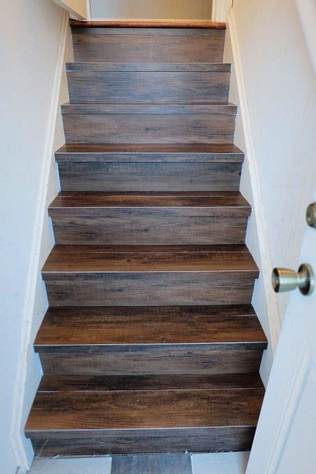 Great Solution: Wood Look Vinyl Tile on a Stair   Hometalk