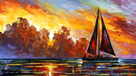 Artwork, Painting, Sailboats, Sea, Leonid Afremov Wallpapers Hd / Desktop And Mobile Backgrounds