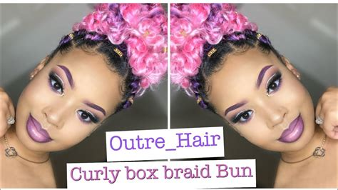 curly box braid bun  outre hair youtube