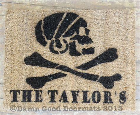 Skull And Crossbones Doormat by Pirate Skull And Crossbones Jolly Rodger Doormat