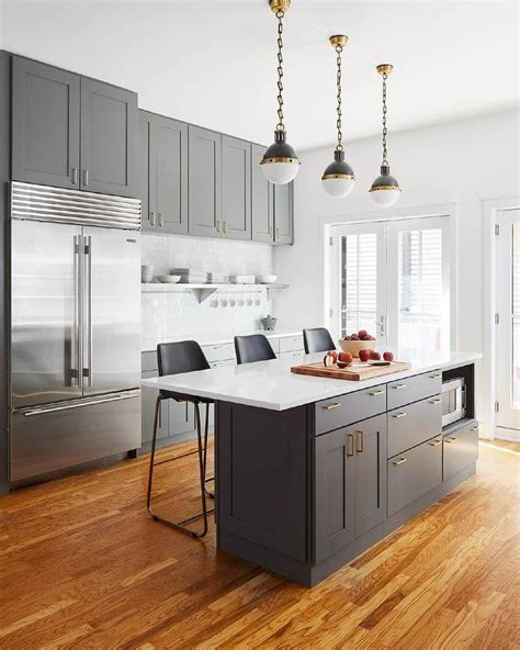 Gray Wash Kitchen Island with Nickel and Brass Pulls and