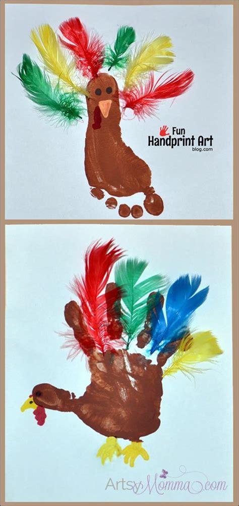 creative footprint turkey craft  feathers