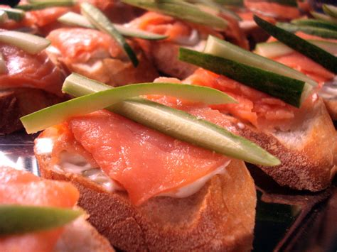 salmon canapes cucumber salmon mayo sauce on baguette cambodia