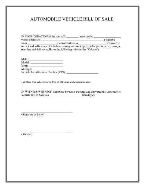 printable sample car bill  sale form laywers template