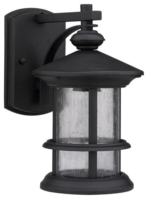 transitional black clear seeded glass outdoor 1 light