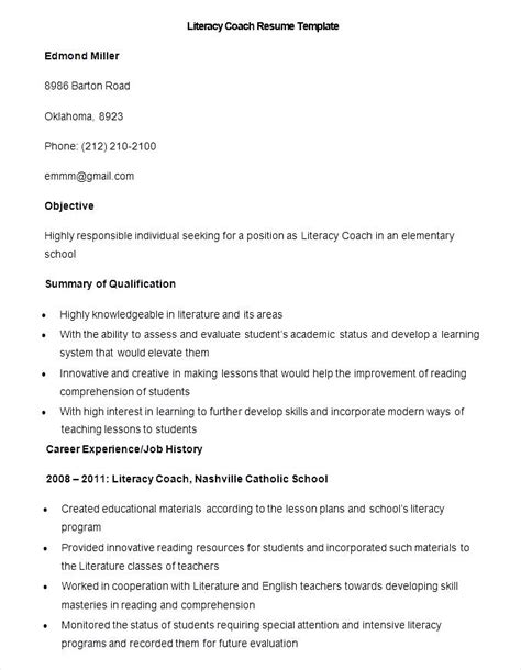 Resume Coaching Skills by Sle Literacy Coach Resume Template Free Sles