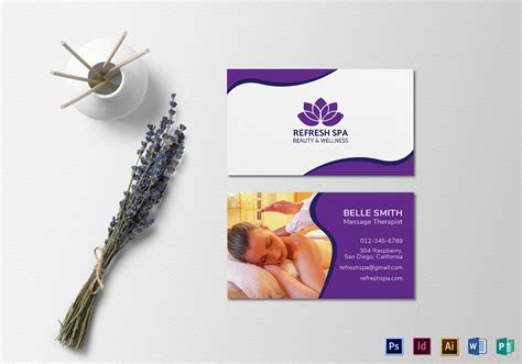 spa center business card template  psd word publisher