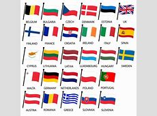 Simple Color Curved Flags All European Union Countries