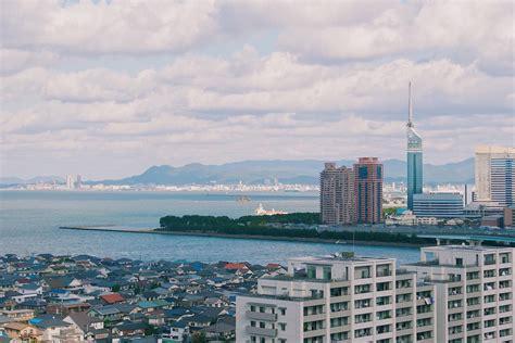Fukuoka City (towards Momochi and Fukuoka Tower) as seen ...