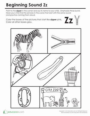 beginning sounds coloring sounds like zipper homeschool