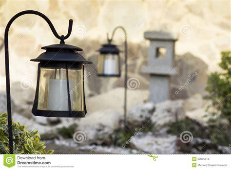 Garten Mit Solarlampen Stockfoto  Bild 50035414