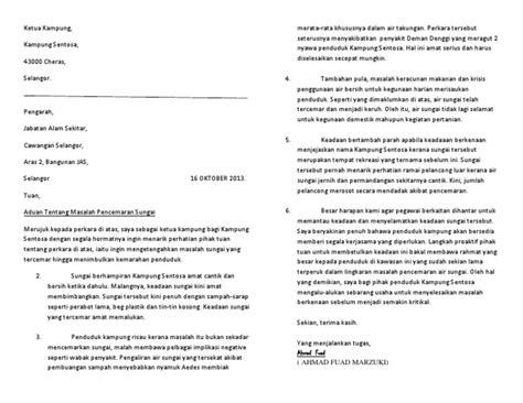 surat rasmi pencemaran